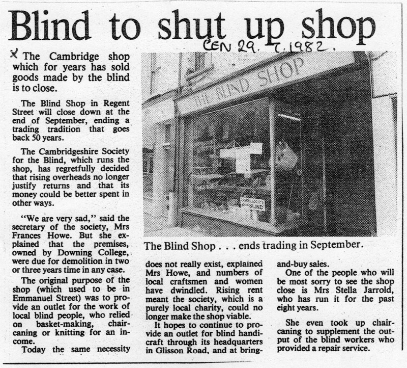 News clipping about closure of The Blind Shop