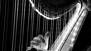 Black and white photo of woman playing the harp